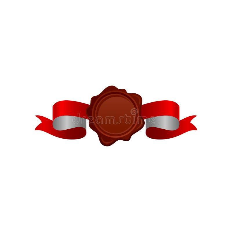 Ícone do vetor do selo redondo-dado forma marrom da cera com a fita vermelho-branca brilhante do cetim Selo do vintage ilustração royalty free