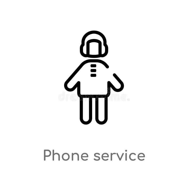 ícone do vetor do serviço telefônico do esboço linha simples preta isolada ilustra??o do elemento do conceito dos povos Curso edi ilustração stock