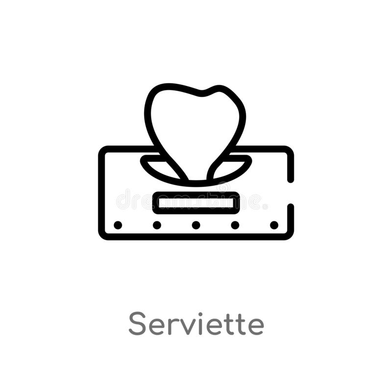 ícone do vetor do serviette do esboço linha simples preta isolada ilustração do elemento do conceito de limpeza Curso editável do ilustração do vetor