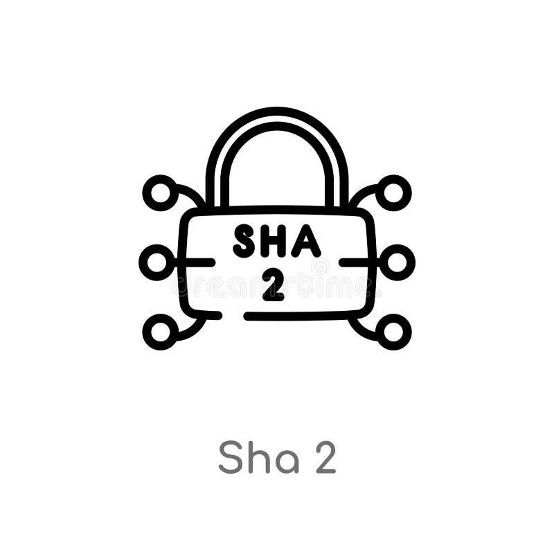 ícone do vetor do sha 2 do esboço linha simples preta isolada ilustração do elemento do conceito da segurança sha editável 2 do c ilustração royalty free