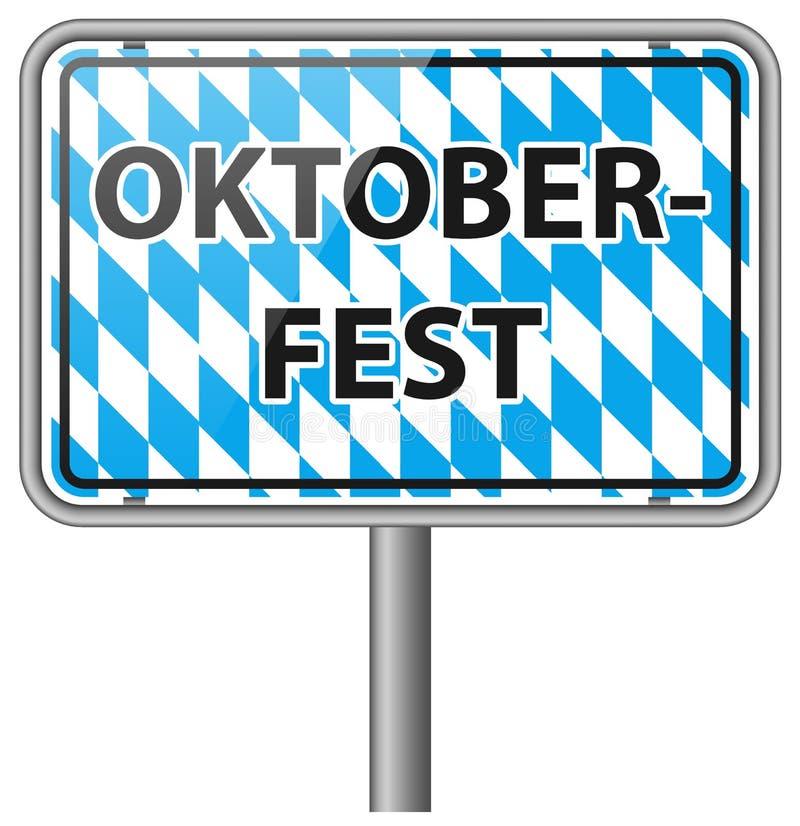 Ícone do vetor do sinal de estrada do bavaria de Oktoberfest ilustração royalty free