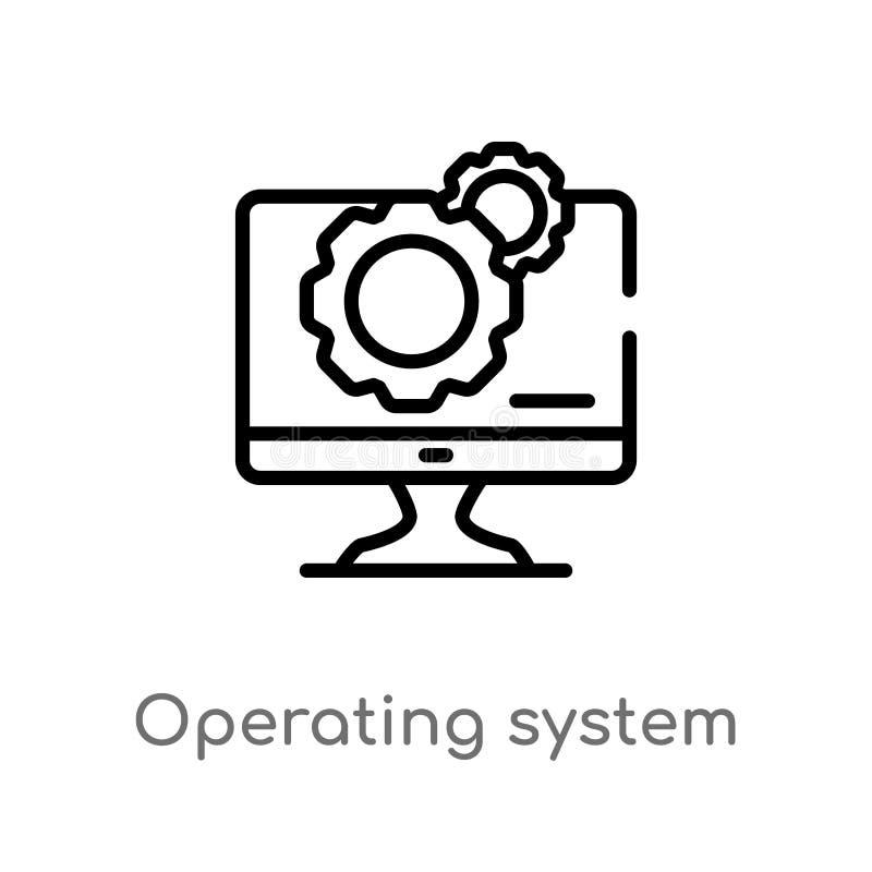 ícone do vetor do sistema operacional do esboço linha simples preta isolada ilustração do elemento do conceito dos dispositivos e ilustração do vetor