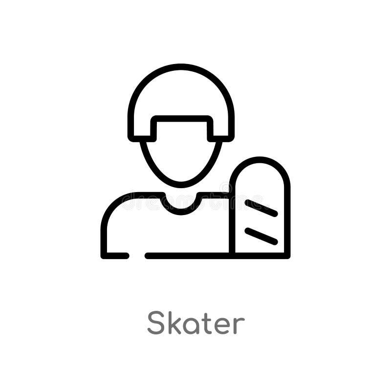 ícone do vetor do skater do esboço linha simples preta isolada ilustra??o do elemento do conceito do usu?rio ícone editável do sk ilustração royalty free