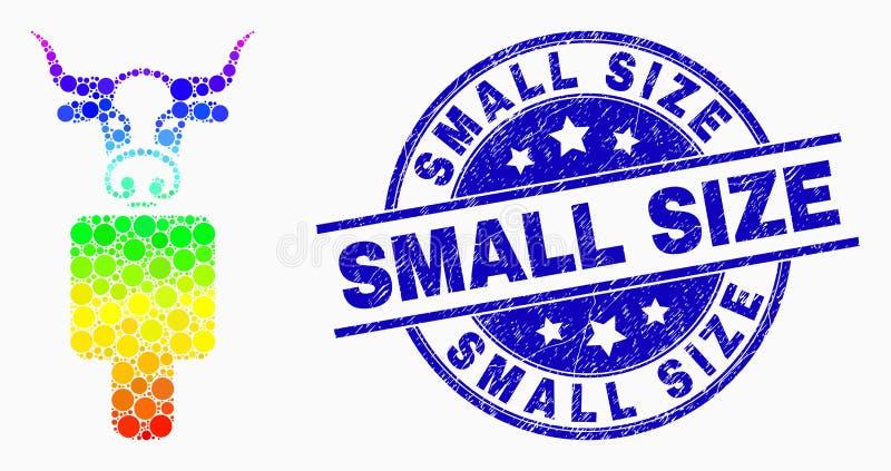 Ícone do Vetor Spectral Bull Dot Man e Selo Grunge Small Size ilustração do vetor