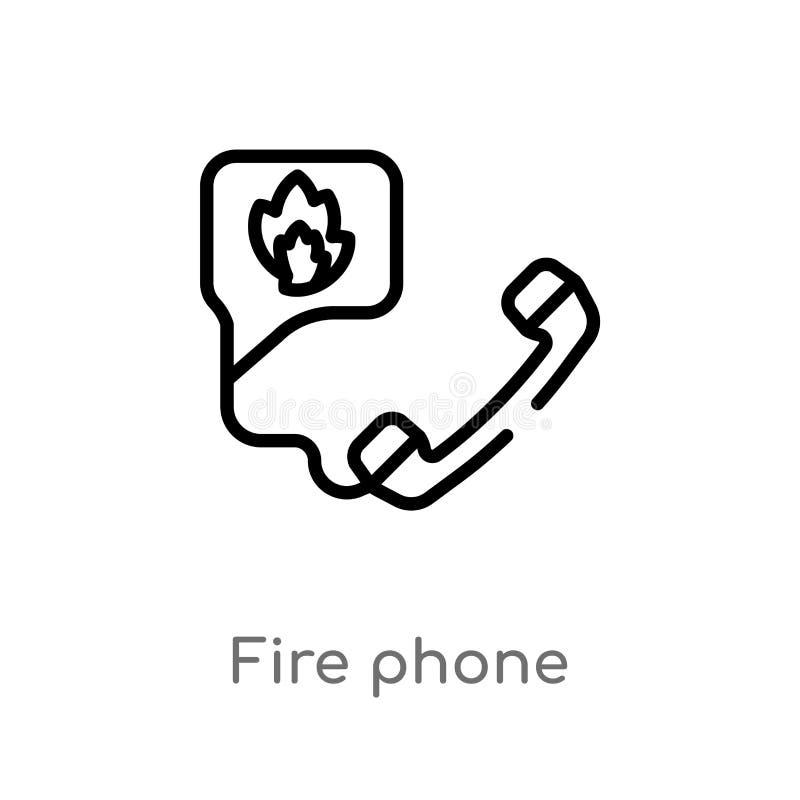 ?cone do vetor do telefone do fogo do esbo?o linha simples preta isolada ilustra??o do elemento do conceito da seguran?a fogo edi ilustração royalty free