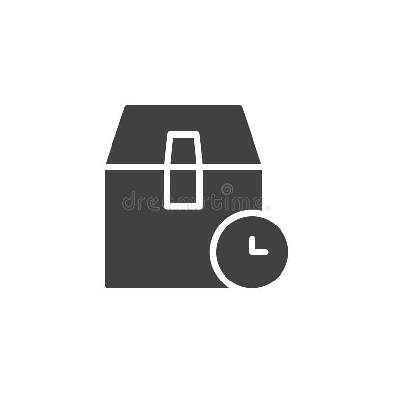 Ícone do vetor do tempo de espera da caixa da entrega ilustração royalty free
