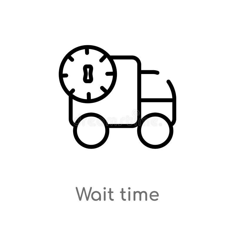 ícone do vetor do tempo de espera do esboço linha simples preta isolada ilustra??o do elemento do conceito da embalagem e da entr ilustração do vetor