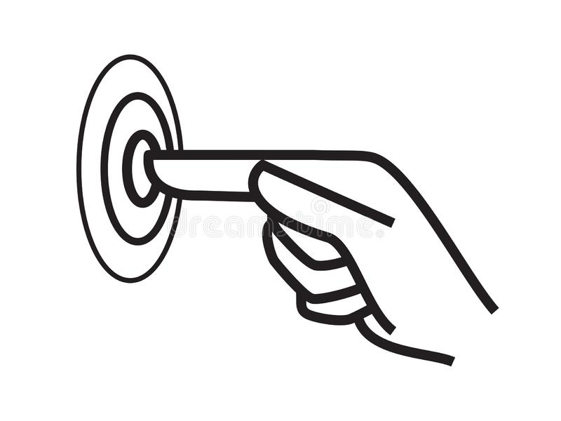 Ícone do vetor do toque, torneira do dedo da mão A tela escolhe o ponteiro do toque do clique e do impulso ilustração stock
