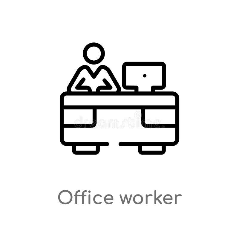 ícone do vetor do trabalhador de escritório do esboço linha simples preta isolada ilustração do elemento do conceito dos seres hu ilustração do vetor