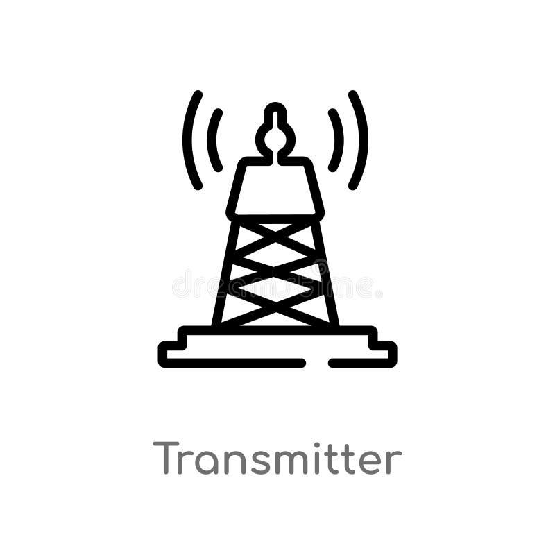 ícone do vetor do transmissor do esboço linha simples preta isolada ilustra??o do elemento do conceito de uma comunica??o Vetor e ilustração stock