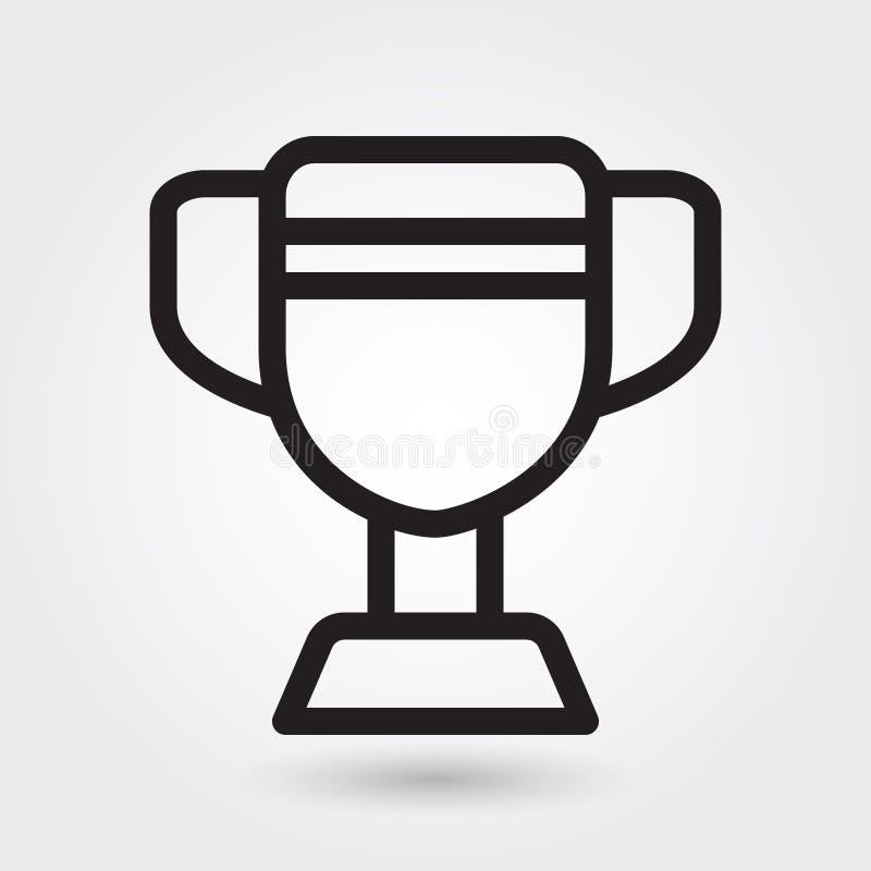Ícone do vetor do troféu, ícone do campeão dos esportes, símbolo do vencedor dos esportes Esboço moderno, simples, vetor do esboç ilustração stock