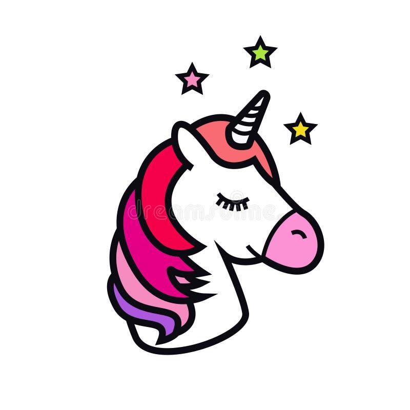 Ícone do vetor do unicórnio isolado no fundo branco Cabeça do cavalo com o chifre Animal mágico da fantasia Projeto para ilustração do vetor