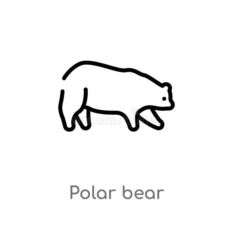 ícone do vetor do urso polar do esboço linha simples preta isolada ilustra??o do elemento do conceito dos animais curso editável  ilustração stock