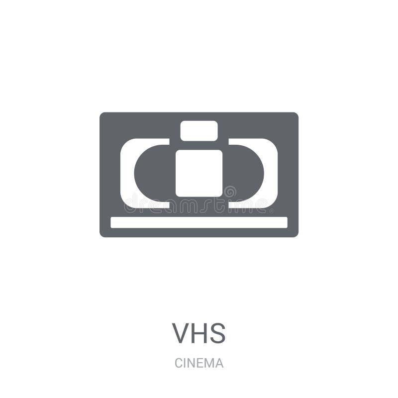 Ícone do VHS Conceito na moda do logotipo do VHS no fundo branco de Cinem ilustração do vetor