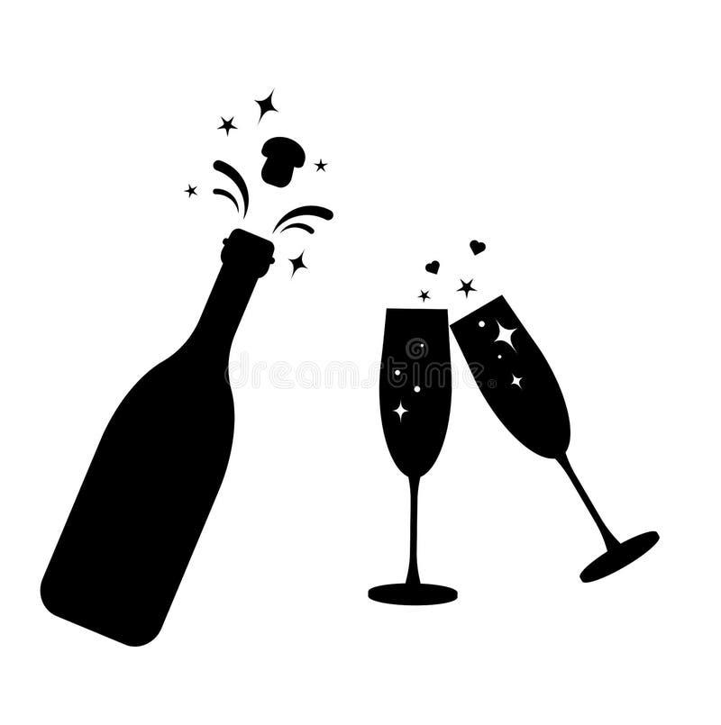 Ícone do vidro do vetor da garrafa de Champagne Garrafa e dois ícones pretos da silhueta dos vidros Ano novo do brinde Cortiça da ilustração stock