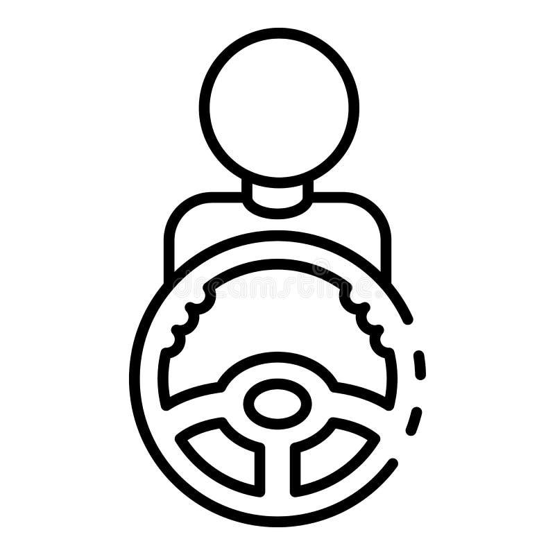 Ícone do volante do carro da tomada do homem, estilo do esboço ilustração stock