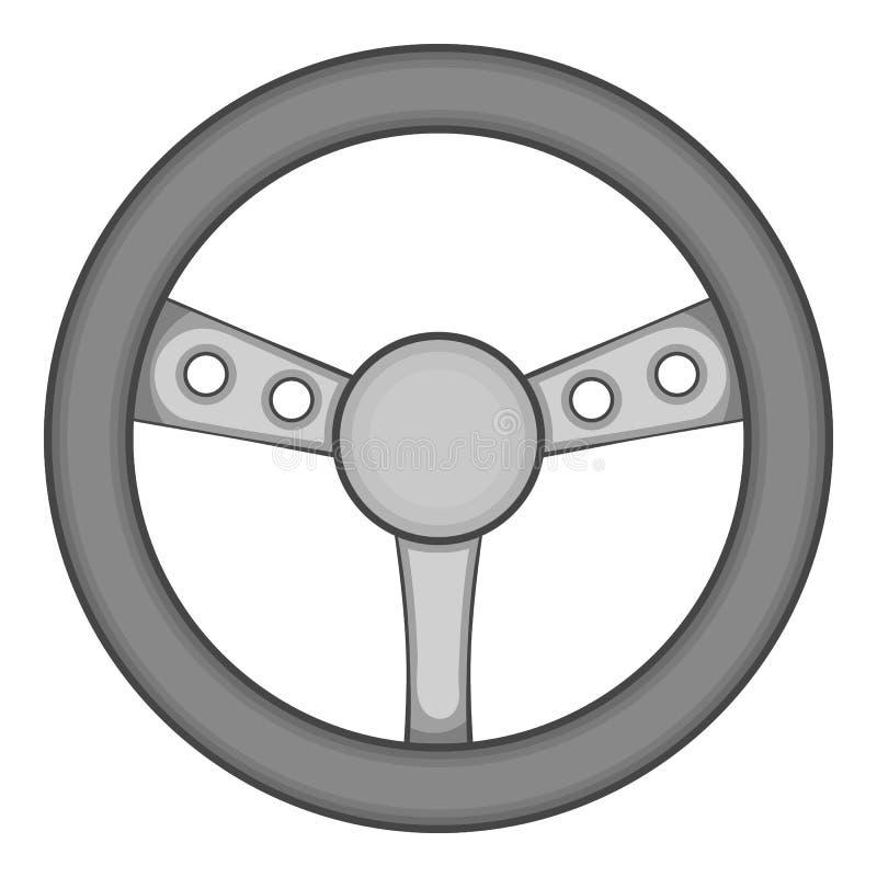 Ícone do volante do jogo, estilo monocromático preto ilustração do vetor