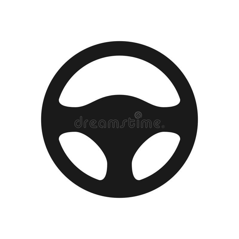 ícone do volante isolado no fundo branco Silhueta do controle da roda de carro, peça de automóvel preta que conduz no estilo liso ilustração do vetor