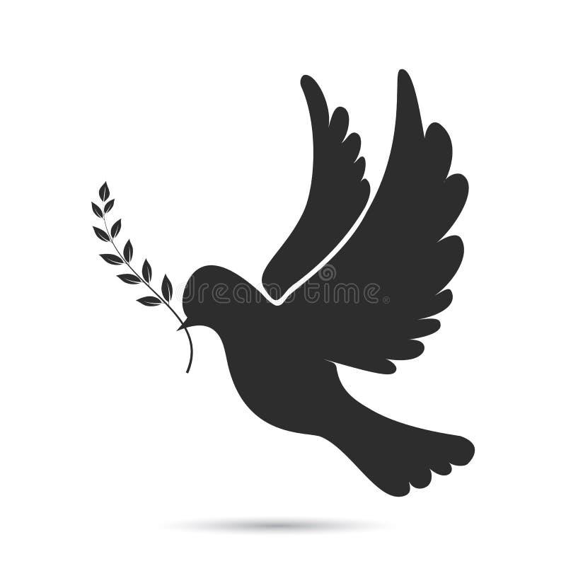 Ícone do voo da pomba com o galho verde-oliva em seu bico ilustração stock