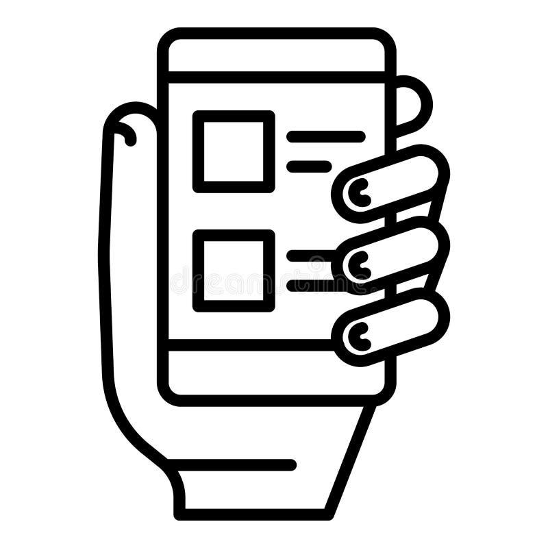 Ícone do voto do smartphone da tomada, estilo do esboço ilustração do vetor