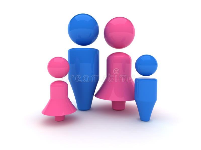 ícone do Web 3d - família ilustração stock