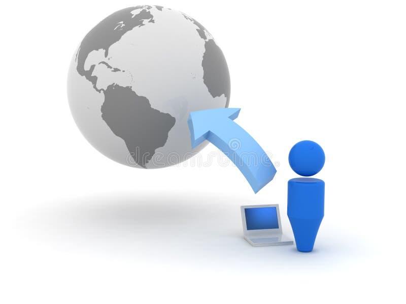 ícone do Web 3d - transferência de arquivo pela rede ilustração stock