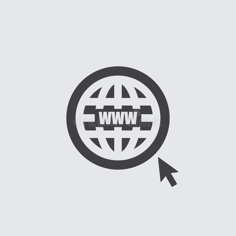 Ícone do Web site em um projeto liso na cor preta Ilustração EPS10 do vetor ilustração do vetor