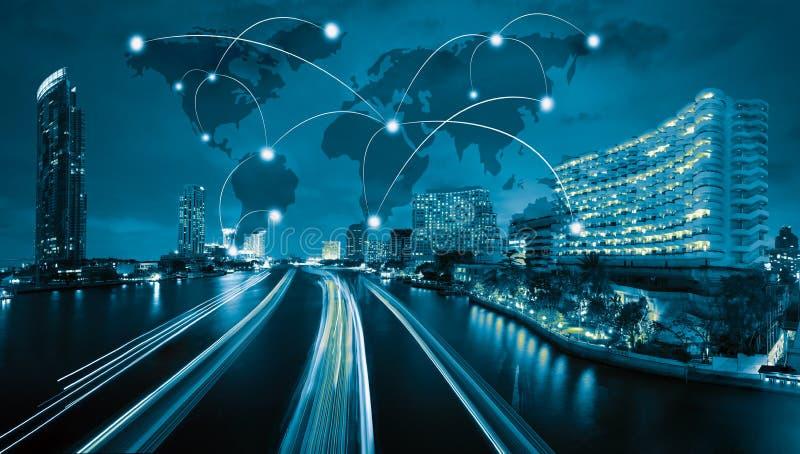 Ícone do wifi da rede de Gobal e da cidade conexão co de scape e de rede imagem de stock royalty free