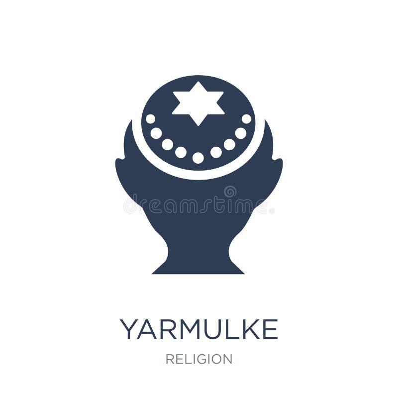 Ícone do Yarmulke Ícone liso na moda do Yarmulke do vetor no backgro branco ilustração stock