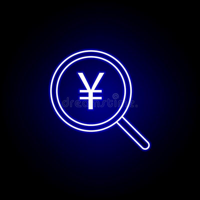 ícone do yuan da lente de aumento da busca no estilo de néon Elemento da ilustra??o da finan?a Os sinais e o ?cone dos s?mbolos p ilustração royalty free