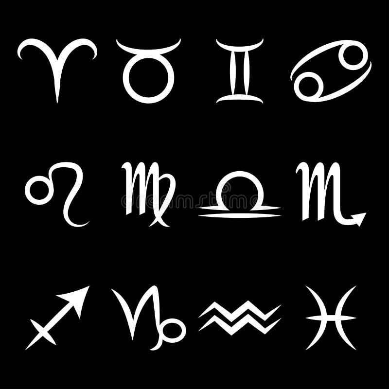 Ícone do zodíaco com sinais da estrela Doze ícones com símbolos astrológicos Ilustração do vetor ilustração do vetor