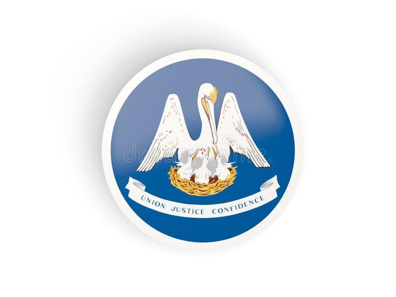 Ícone dobrado redondo com a bandeira de louisiana Estados Unidos fl local ilustração stock