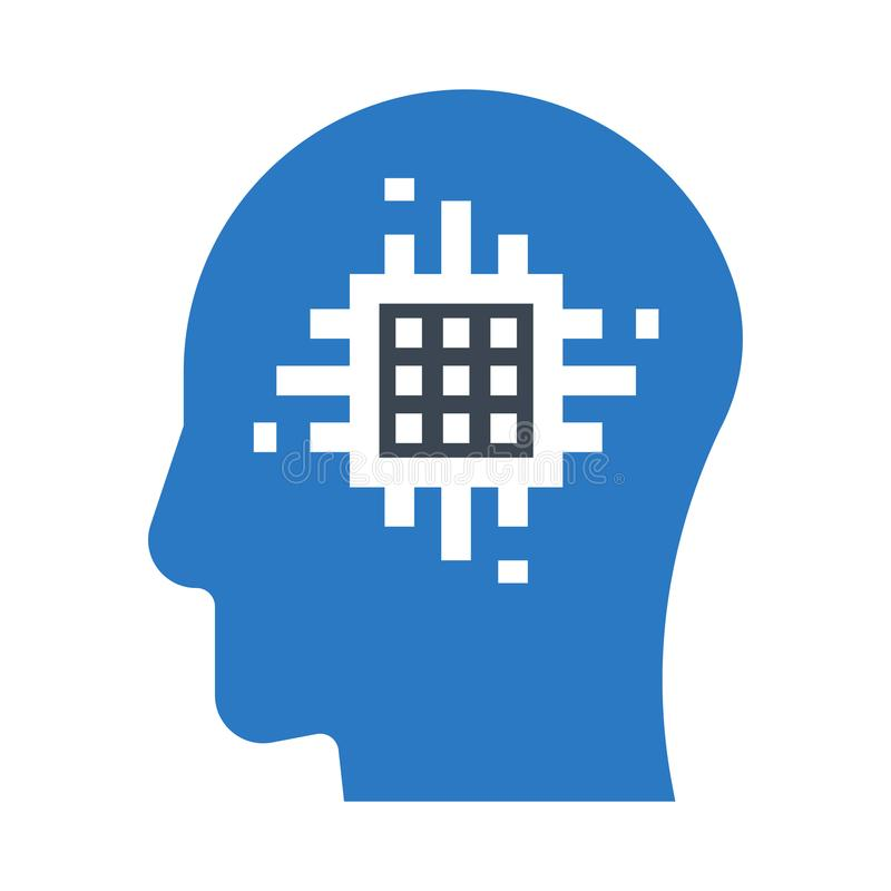 Ícone dobro da cor dos glyphs da microplaqueta da mente ilustração do vetor