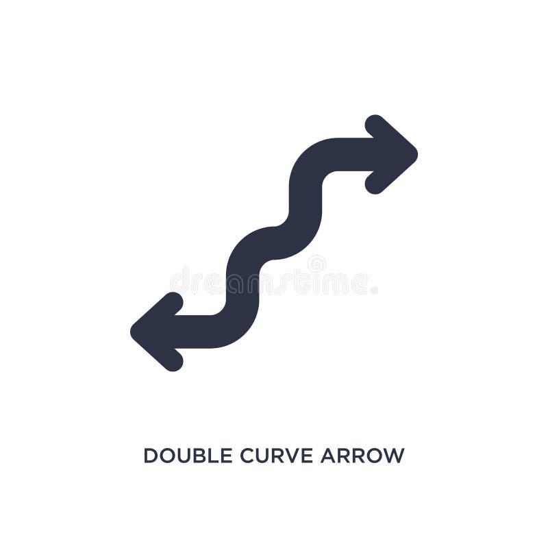 ícone dobro da seta da curva no fundo branco Ilustração simples do elemento do conceito das setas ilustração do vetor