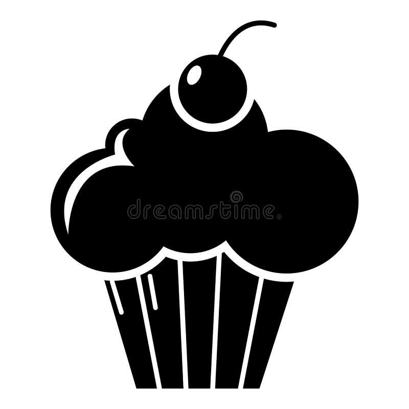 Ícone doce do queque, estilo simples ilustração stock