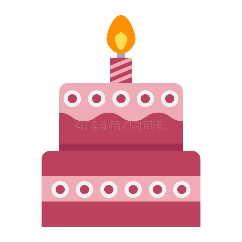 Ícone, doce e feriado lisos do bolo de aniversário ilustração do vetor