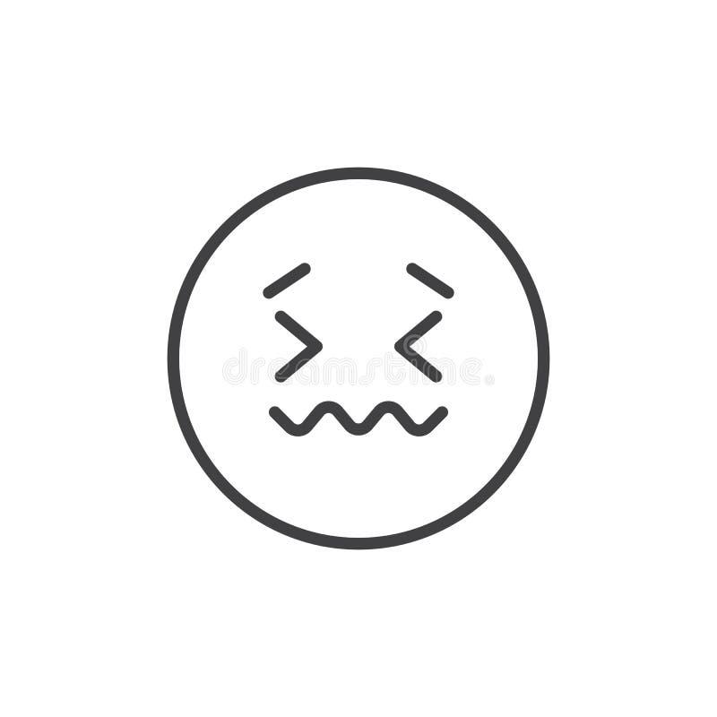 Ícone doente do esboço da cara do Emoticon ilustração do vetor