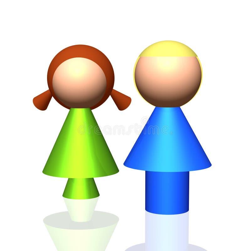 ícone dos órfão 3D ilustração stock