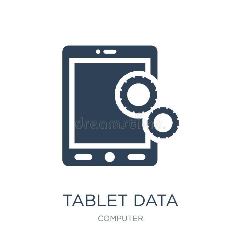 ícone dos ajustes dos dados da tabuleta no estilo na moda do projeto ícone dos ajustes dos dados da tabuleta isolado no fundo bra ilustração do vetor