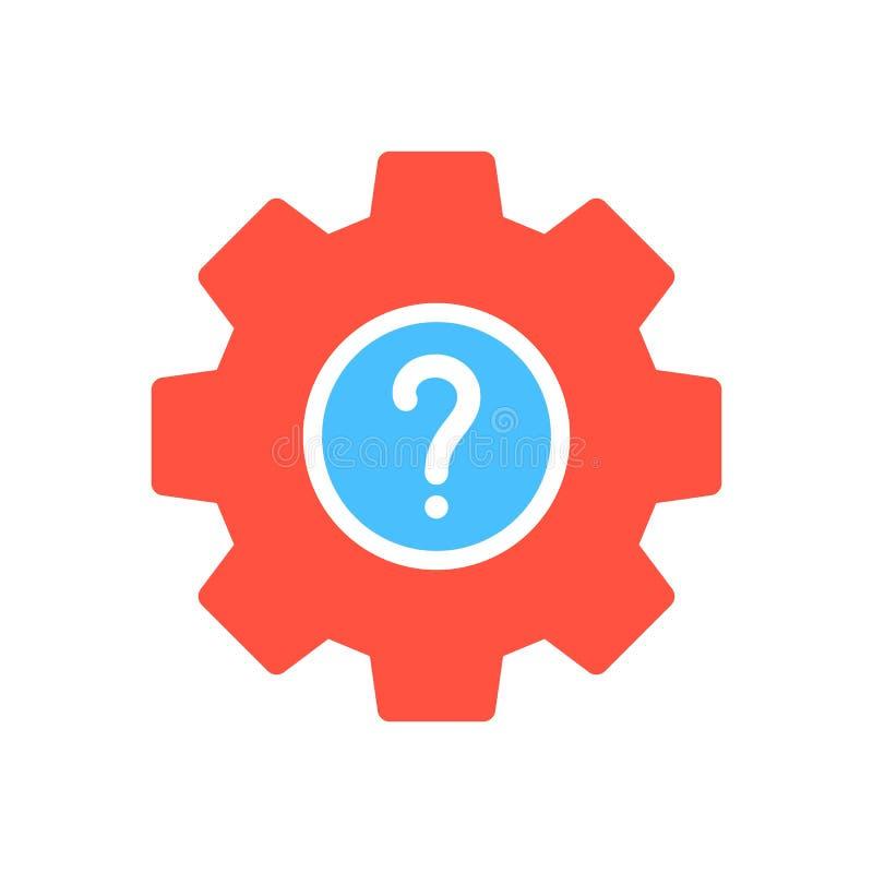 Ícone dos ajustes ícone, das ferramentas e dos utensílios com ponto de interrogação Ícone e ajuda dos ajustes, como a, informação ilustração do vetor