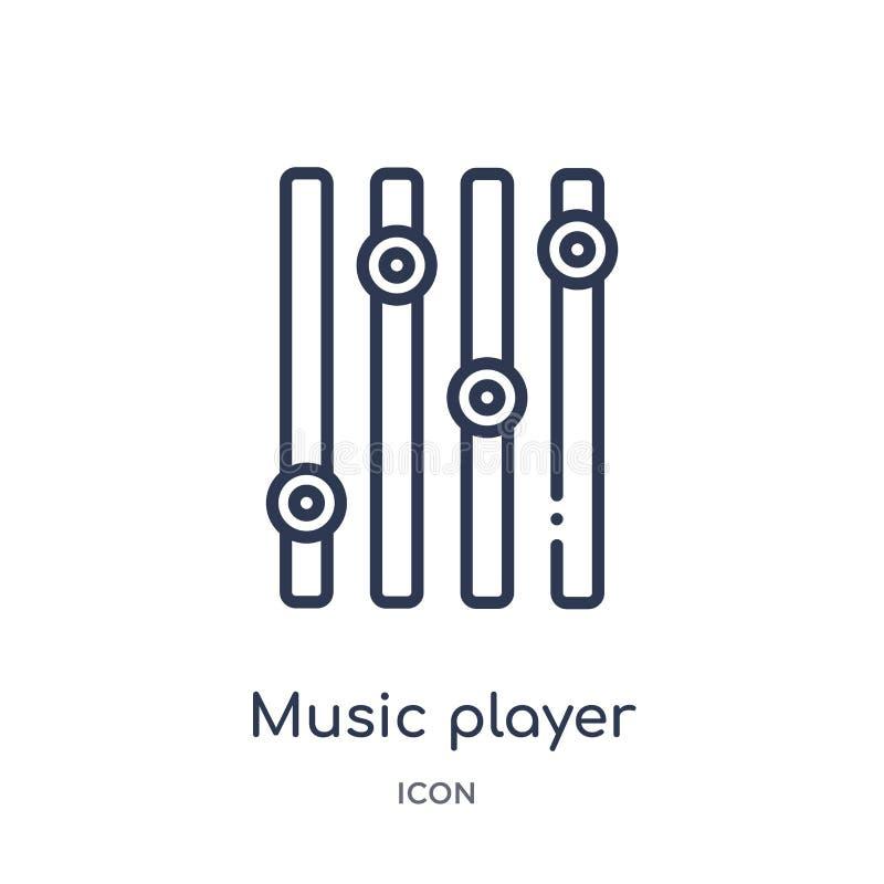 ícone dos ajustes do jogador de música da música e da coleção do esboço dos meios Linha fina ícone dos ajustes do jogador de músi ilustração royalty free