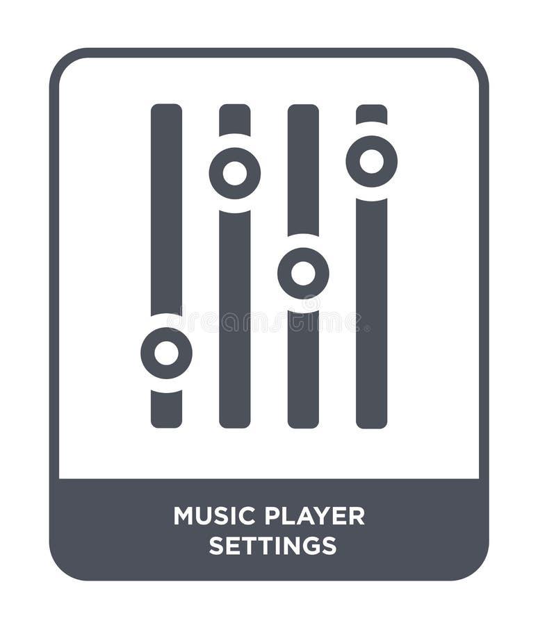 ícone dos ajustes do jogador de música no estilo na moda do projeto ícone dos ajustes do jogador de música isolado no fundo branc ilustração stock