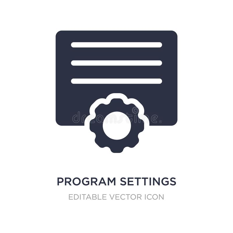 ícone dos ajustes do programa no fundo branco Ilustração simples do elemento do conceito das ferramentas e dos utensílios ilustração do vetor