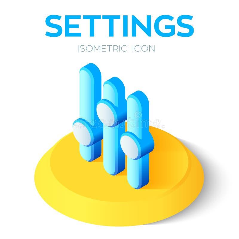 Ícone dos ajustes os ajustes 3D isométricos assinam Criado para o móbil, Web, decoração, produtos da cópia, aplicação Aperfeiçoe  ilustração stock