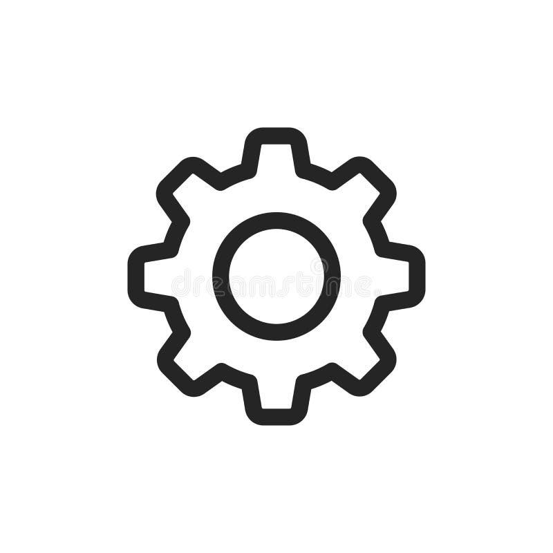 Ícone dos ajustes Símbolo da roda denteada isolado no fundo branco ilustração do vetor