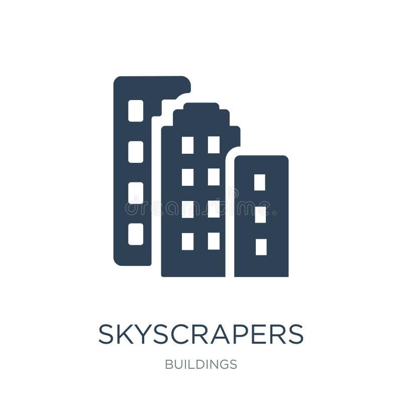 ícone dos arranha-céus no estilo na moda do projeto ícone dos arranha-céus isolado no fundo branco ícone do vetor dos arranha-céu ilustração stock
