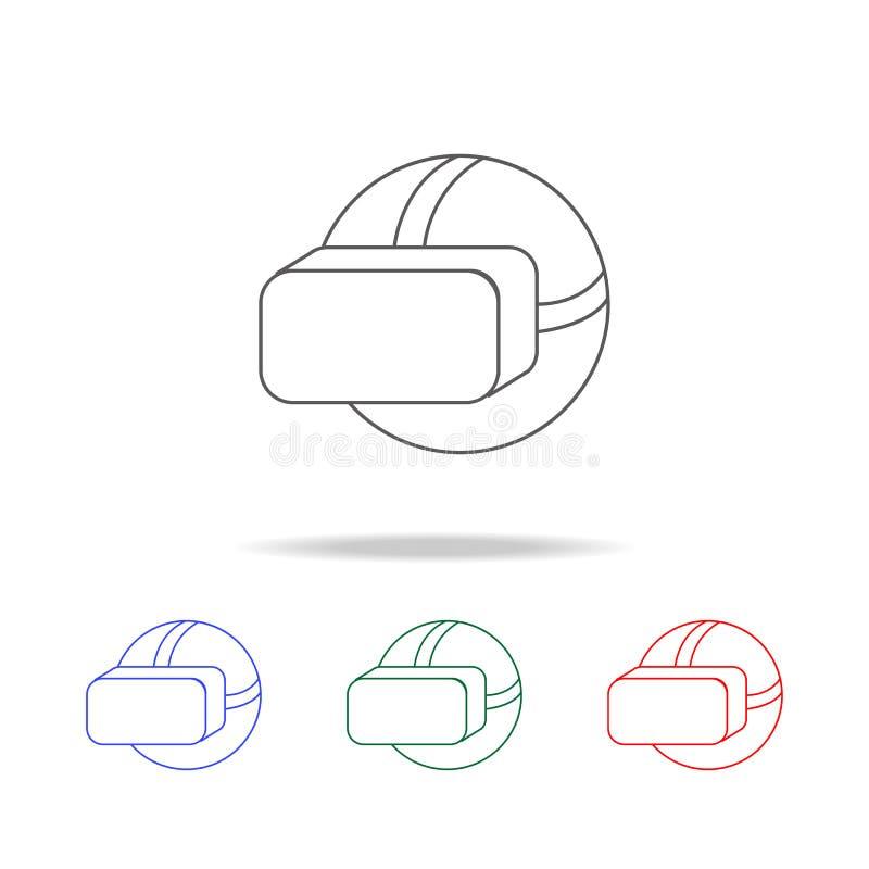 Ícone dos auriculares da realidade virtual Elementos da vida do jogo em multi ícones coloridos Ícone superior do projeto gráfico  ilustração royalty free