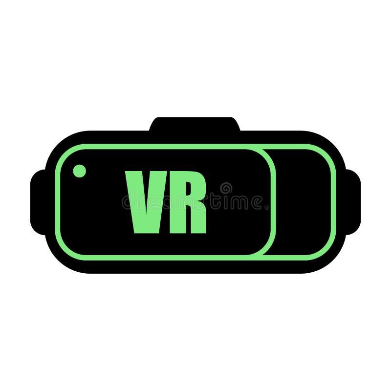 Ícone dos auriculares da realidade virtual Preto com um esboço verde ilustração do vetor