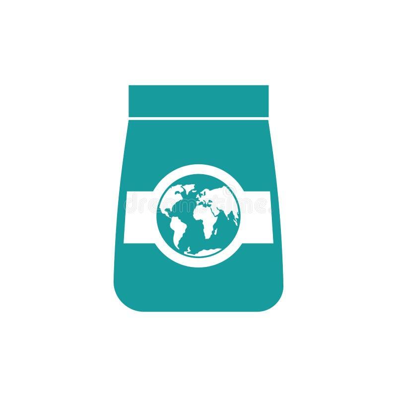 Ícone dos bens da exportação Embalagem e terra ilustração stock