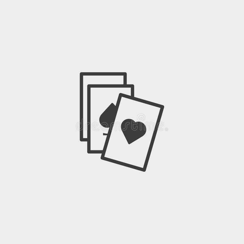 Ícone dos cartões de jogo em um projeto liso na cor preta Ilustração EPS10 do vetor ilustração do vetor